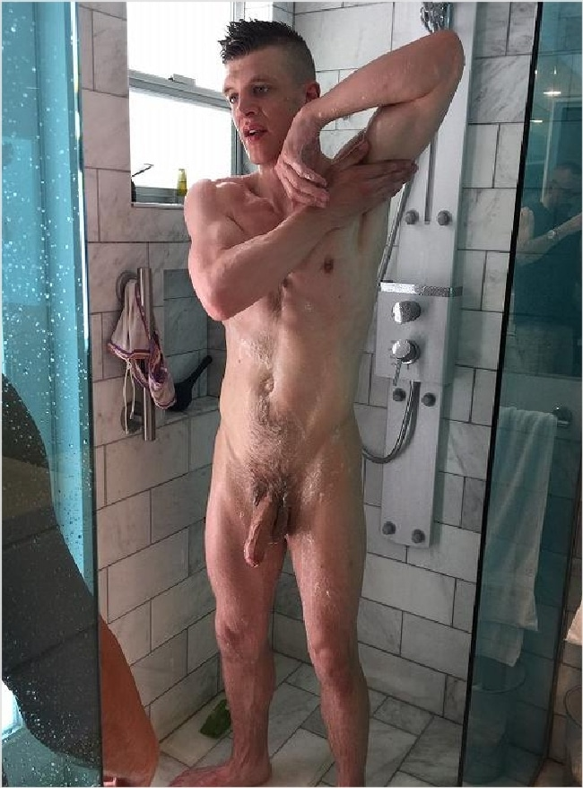 Picture of nude man on the shower